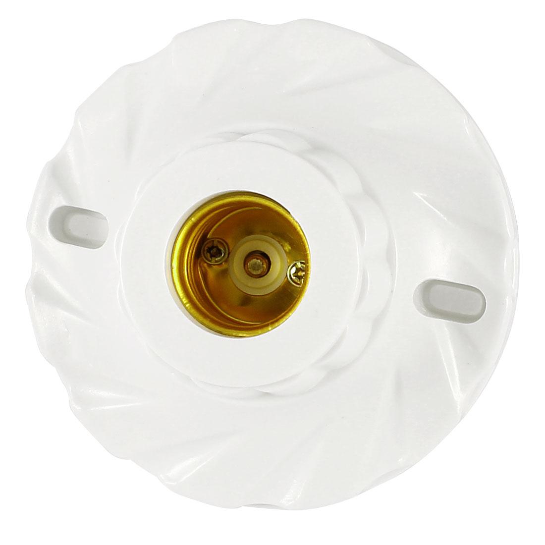 AC 250V 6A 11cm Diameter White Plastic Housing E27 Screw Base Lamp Light Holder