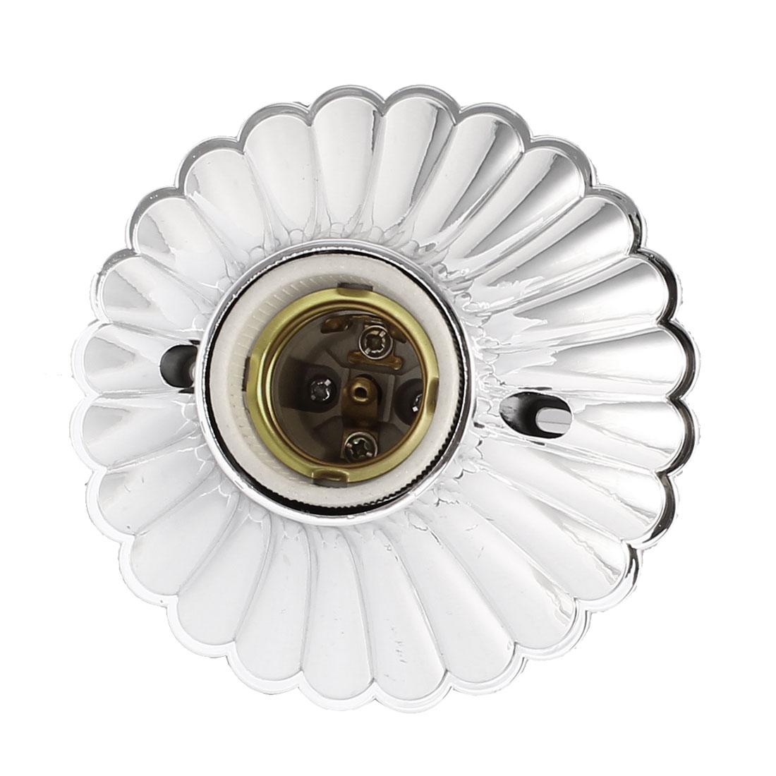 AC 250V 4A 11cm Dia Silver Tone Plastic Housing E27 Screw Base Lamp Light Holder