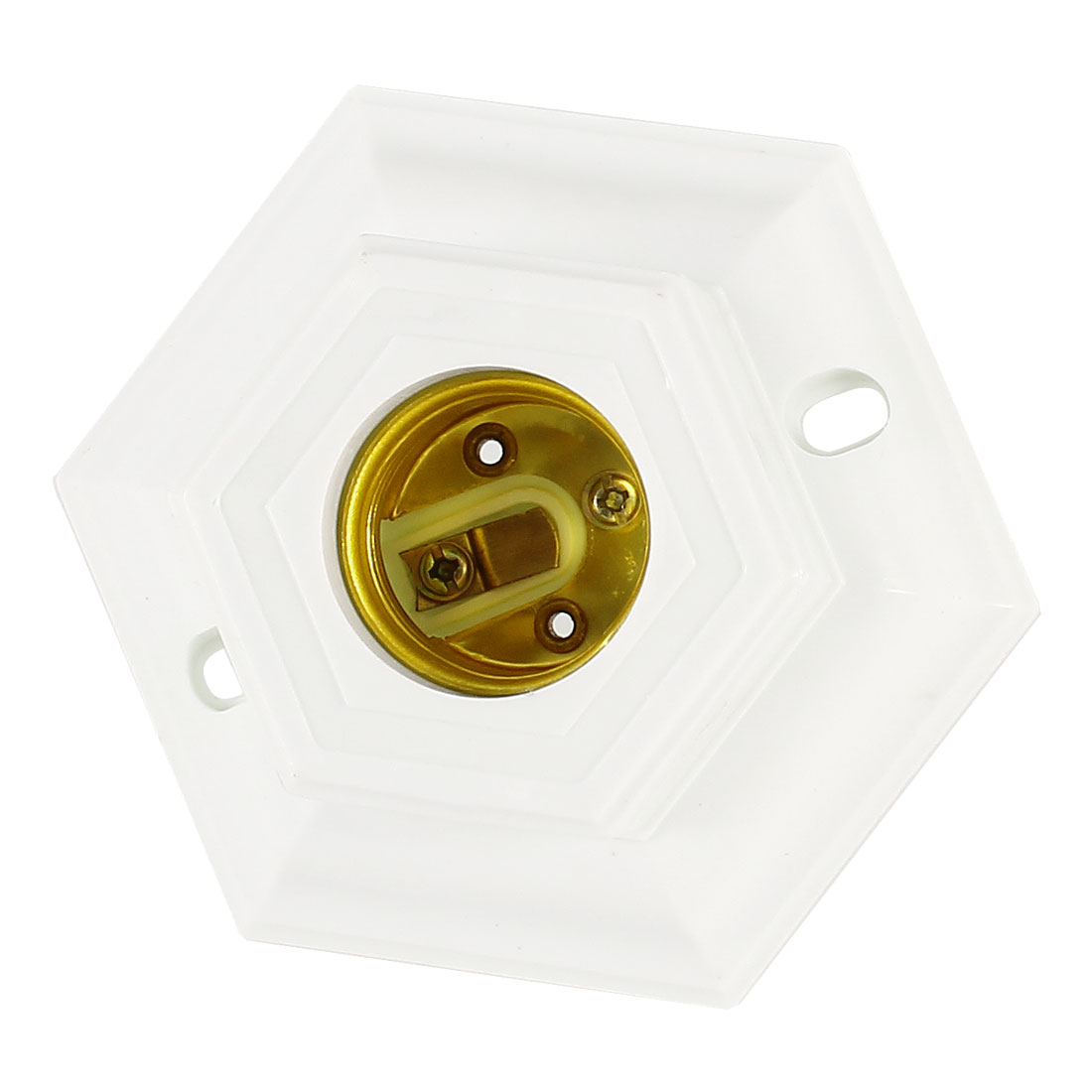 AC 250V 6A 10cm Dia Hexagonal White Housing E27 Screw Base Lamp Light Holder
