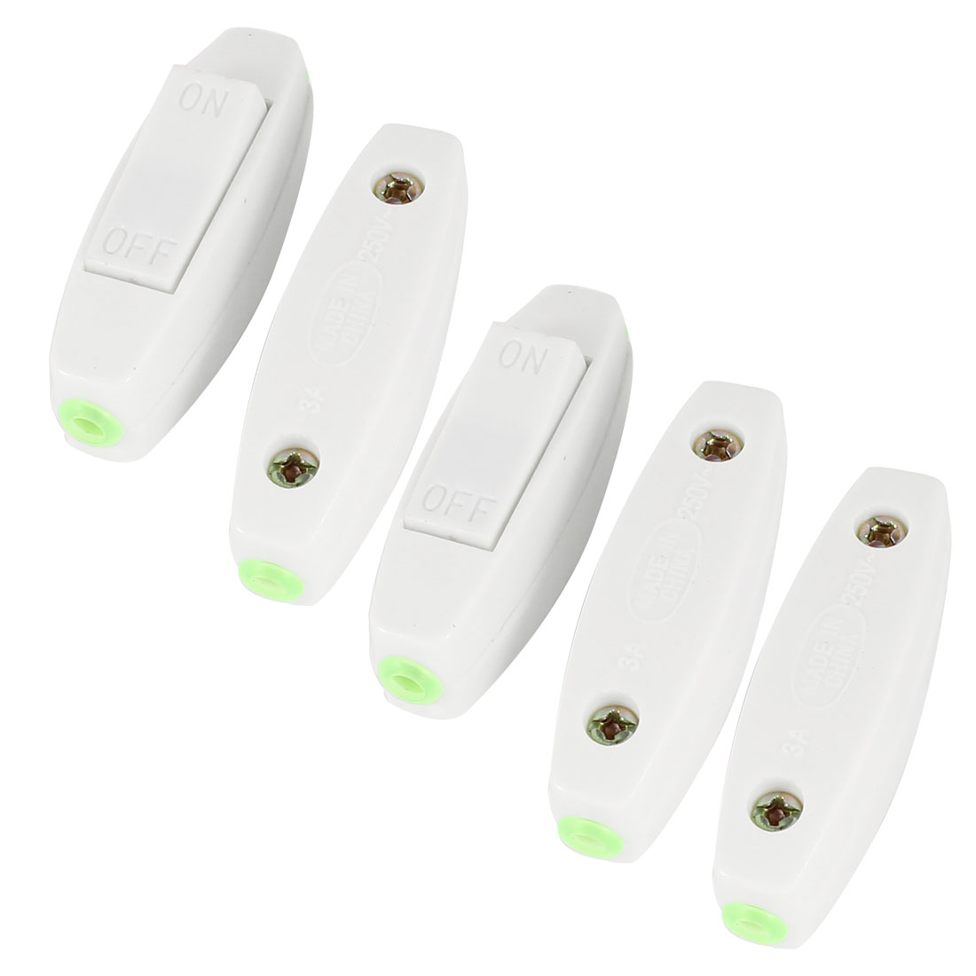 Bedroom AC 250V 3A ON/OFF Button Dual Hole In Line Cord Lamp Switch White 5 Pcs