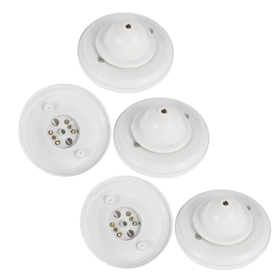 5 Pcs Off White Round Shaped Plastic Ceiling Light Lamp Box Cover AC 250V 6A