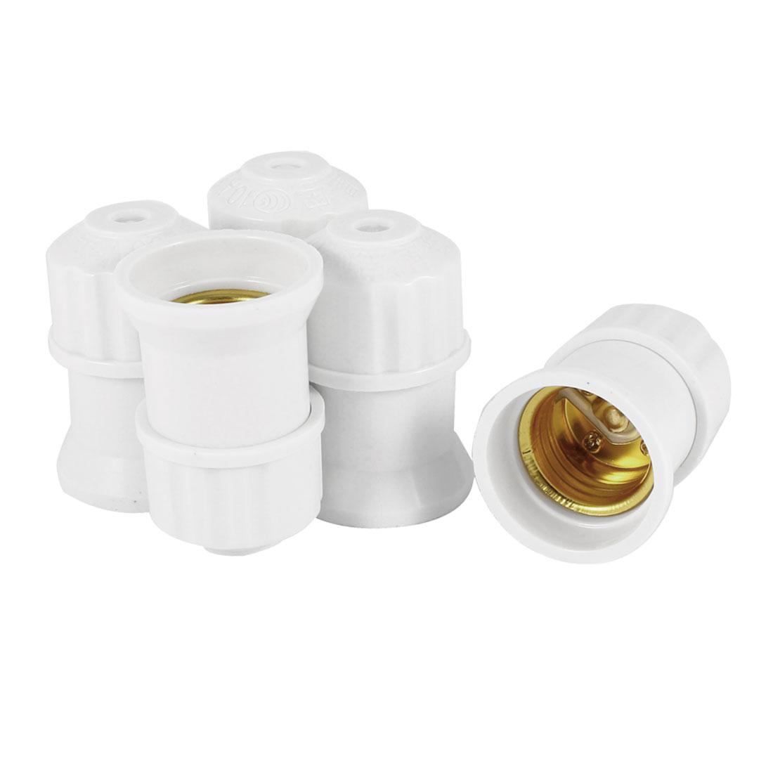 AC 250V 10A White Plastic Housing E27 Bulb Lamp Light Screw Type Holder 5 Pieces