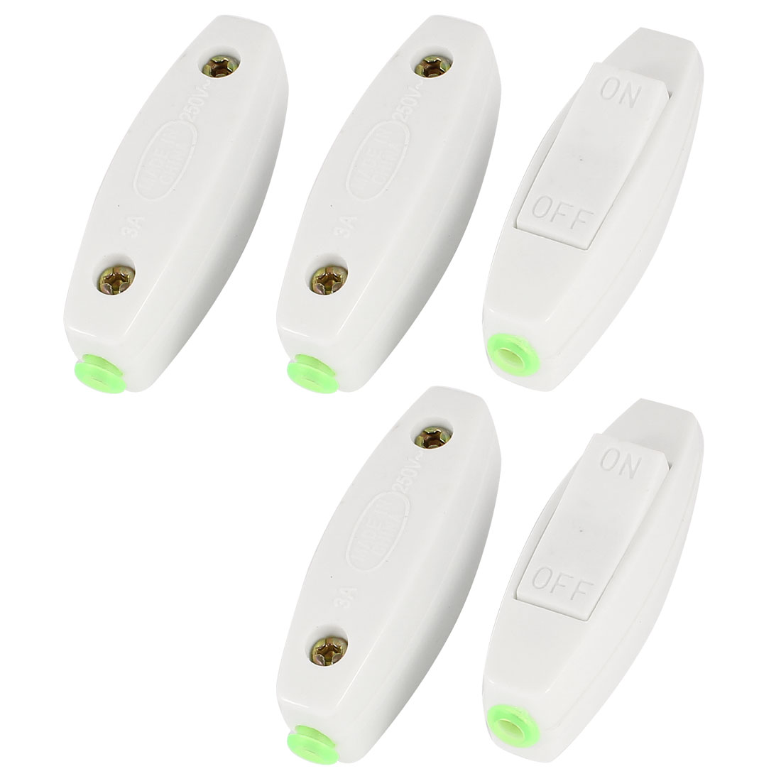 Home Bedroom AC 250V 3A ON/OFF Button In Line Cord Lamp Light Switch White 5 Pcs