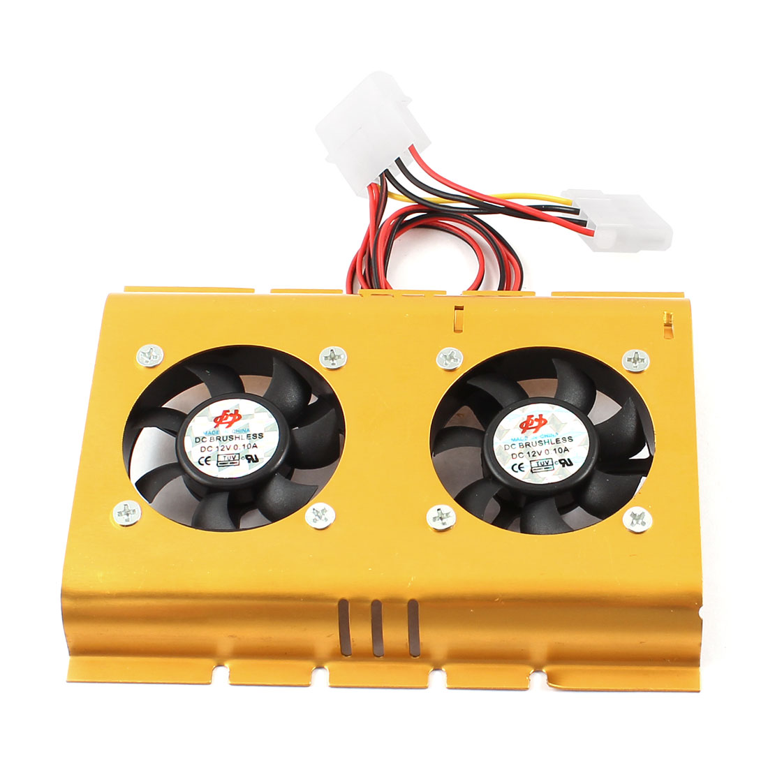 DC 12V 0.1A 4 Pin Gold Tone Dual PC Cooling Fan 50mm x 50mm