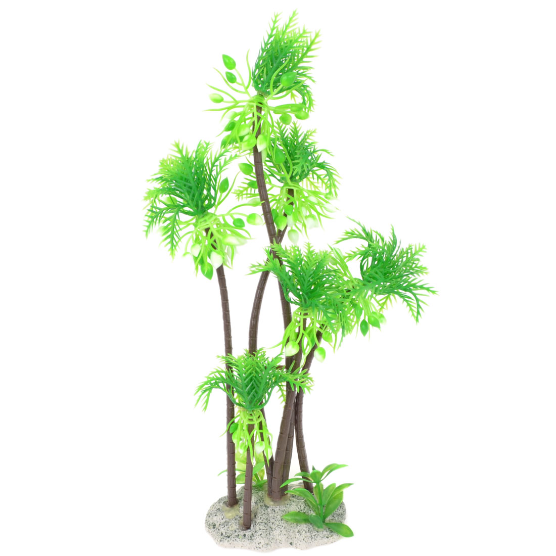 "Green Plastic Ceramic Base Emulation Underwater Plant Grass Tree 11"" Height for Fish Tank"