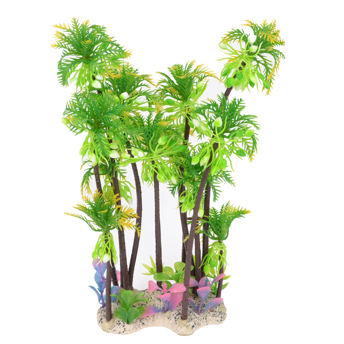 "11"" Height Aquarium Emulational Green Coconut Palm Aquatic Water Plant"
