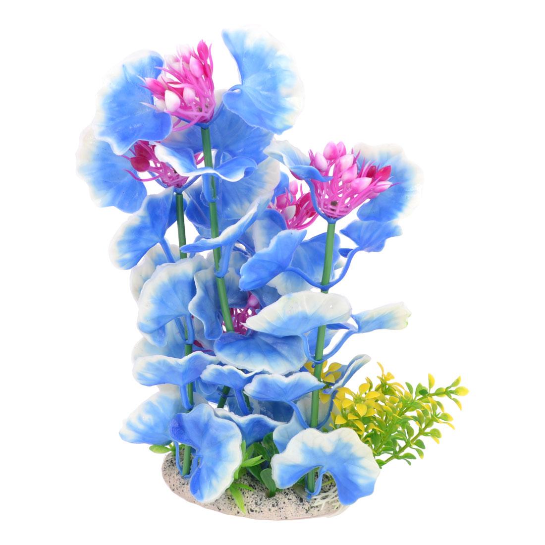 21.5cm Height Aquarium Landscaping Blue White Plastic Artificial Aquatic Grass