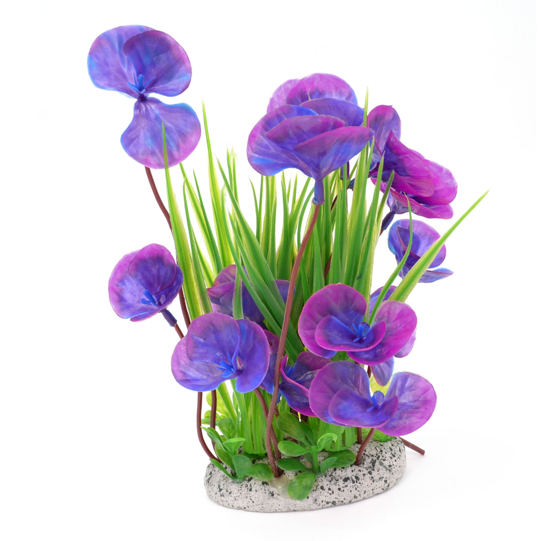 "Purple Green Plastic Ceramic Base Emulation Aquatic Plant Grass Tree 8.3"" Height for Fish Tank"