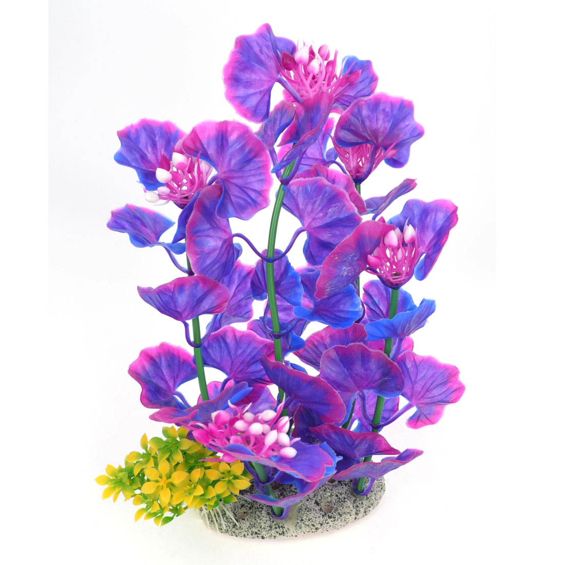 "8.9"" High Fish Tank Purple Simulation Ginkgo Leaf Water Plant w Ceramic Base"