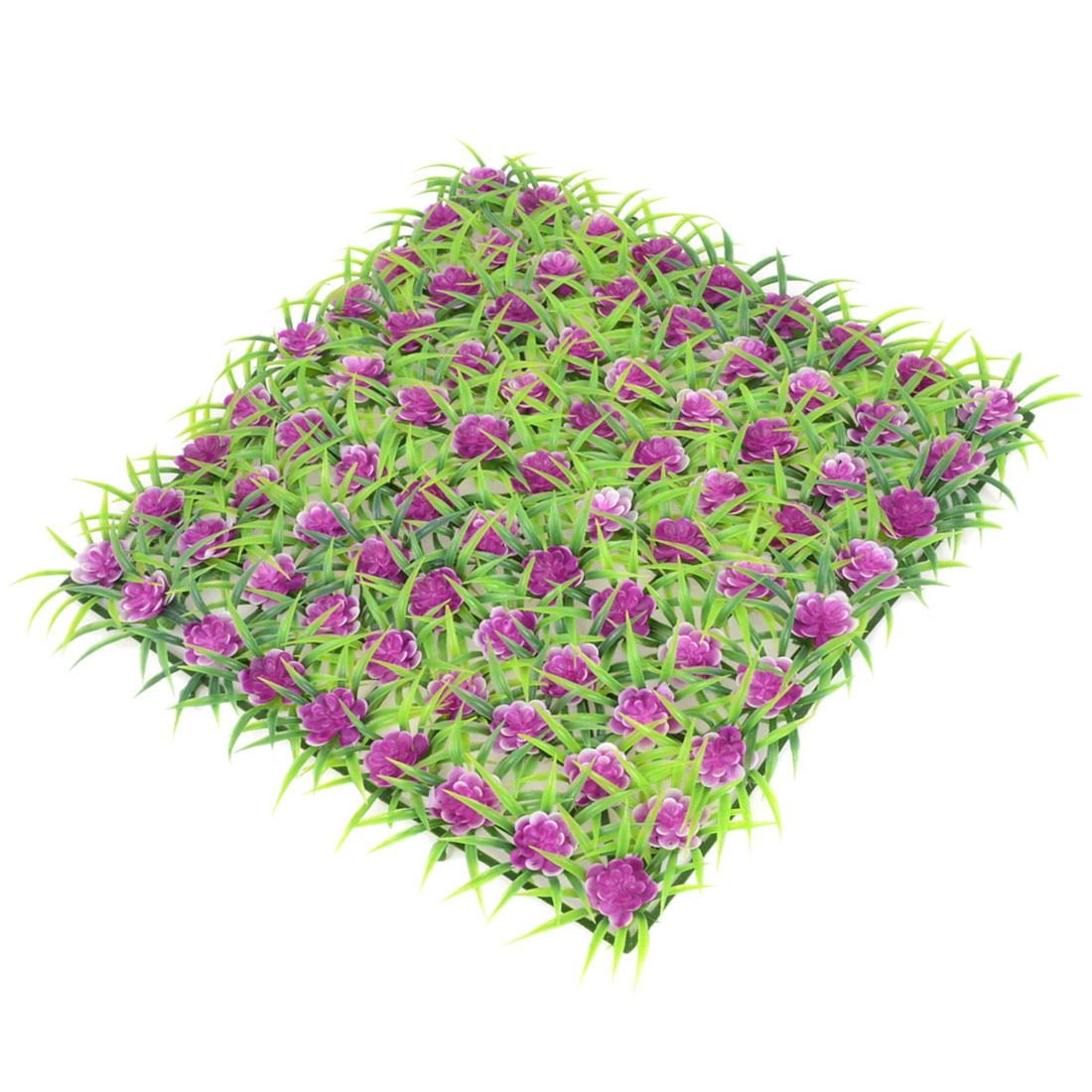 Purple Green Plastic Emulation Underwater Plant Grass Flower 22x22cm for Fish Tank
