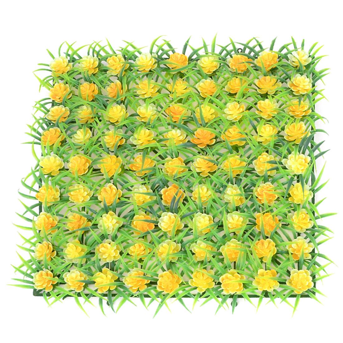 Yellow Green Plastic Emulation Underwater Plant Grass Flower 22x22cm for Fish Tank