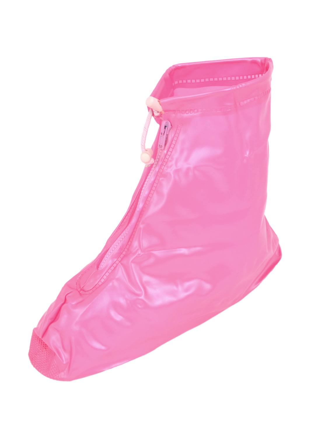 Lady Zip Up PVC Water Proof Shoes Cover Rain Boot Pink Pair US 9