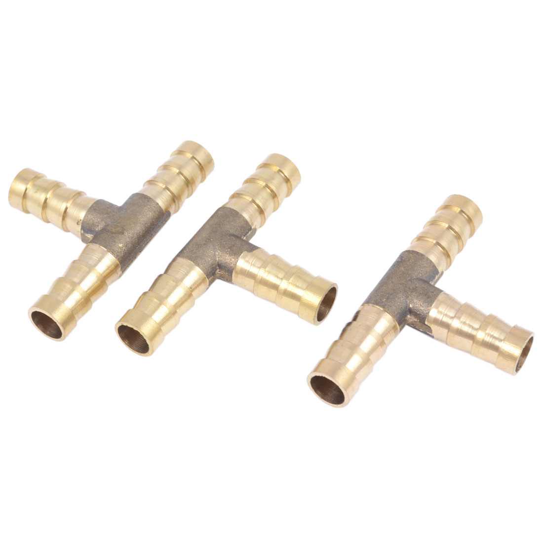 3 Pieces Air Pneumatic Brass T Shape 8mm to 8mm Quick Barb Coupler Connector