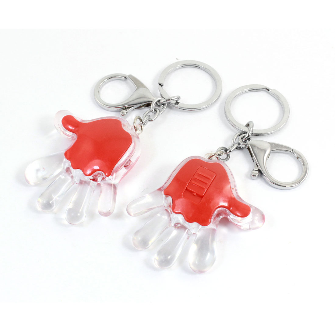 White Light LED Red Clear Plastic Palm Shape Pendant Keychain Keyring Key Holder 2 Pcs