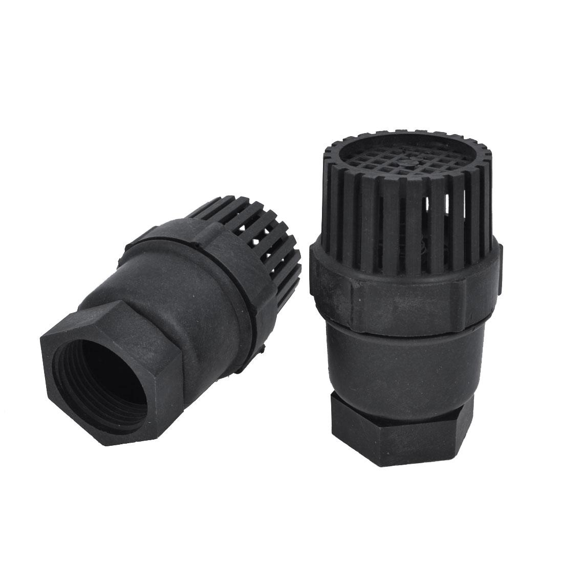 "2 PCS Replacement 1.2"" Thread Dia Black Plastic PVC Foot Bottom Valves"
