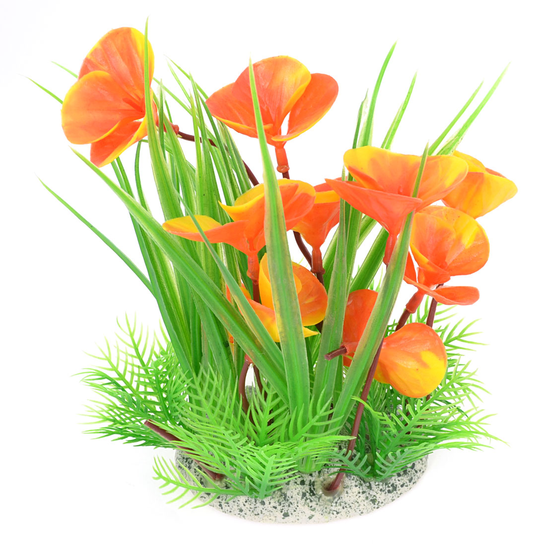 1 Pcs Red Yellow Flower Green Plastic Plant Grass for Aquarium w Ceramic Base
