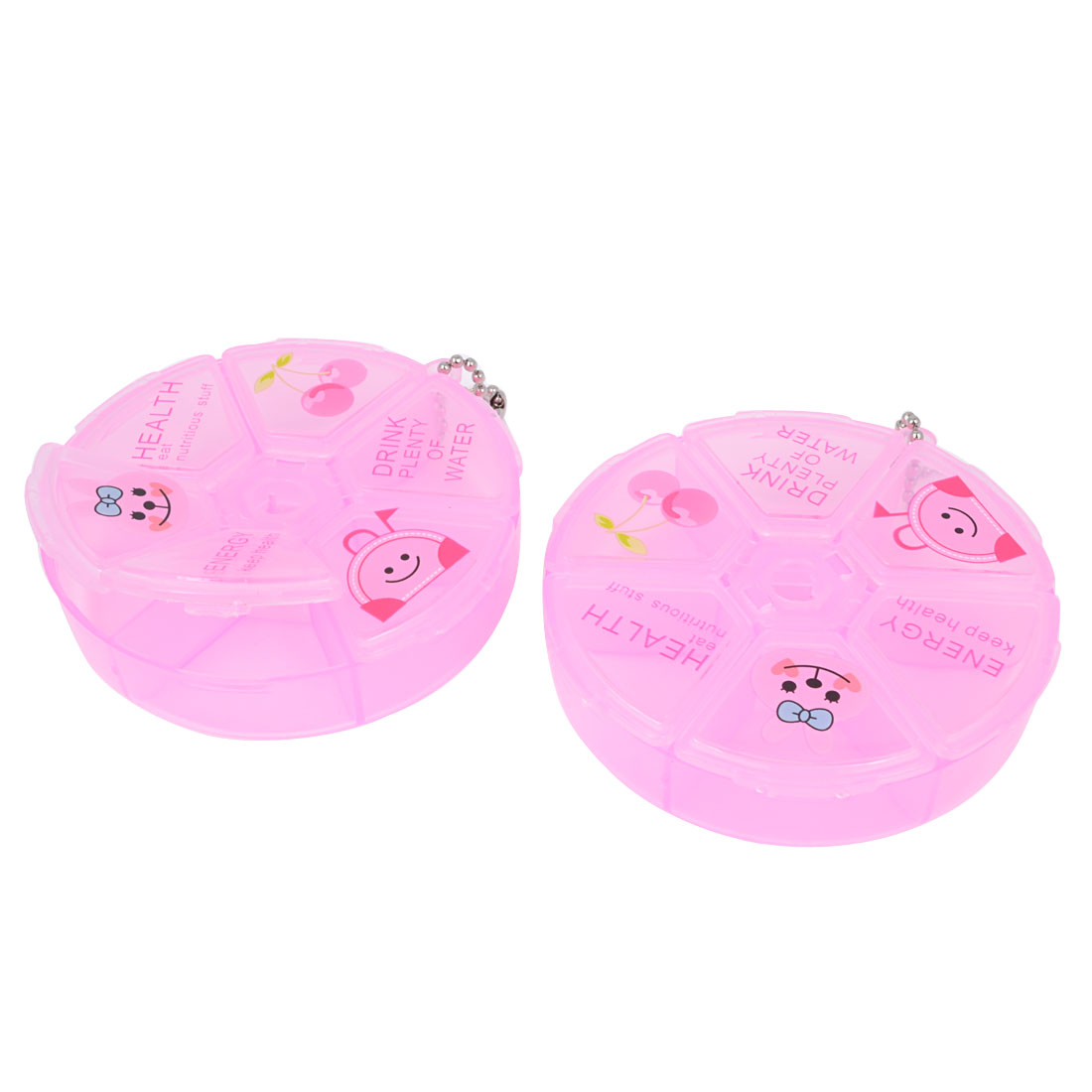 Travelling Clear Pink Plastic 3 Compartment Round Pill Storage Box Holder 2 Pcs