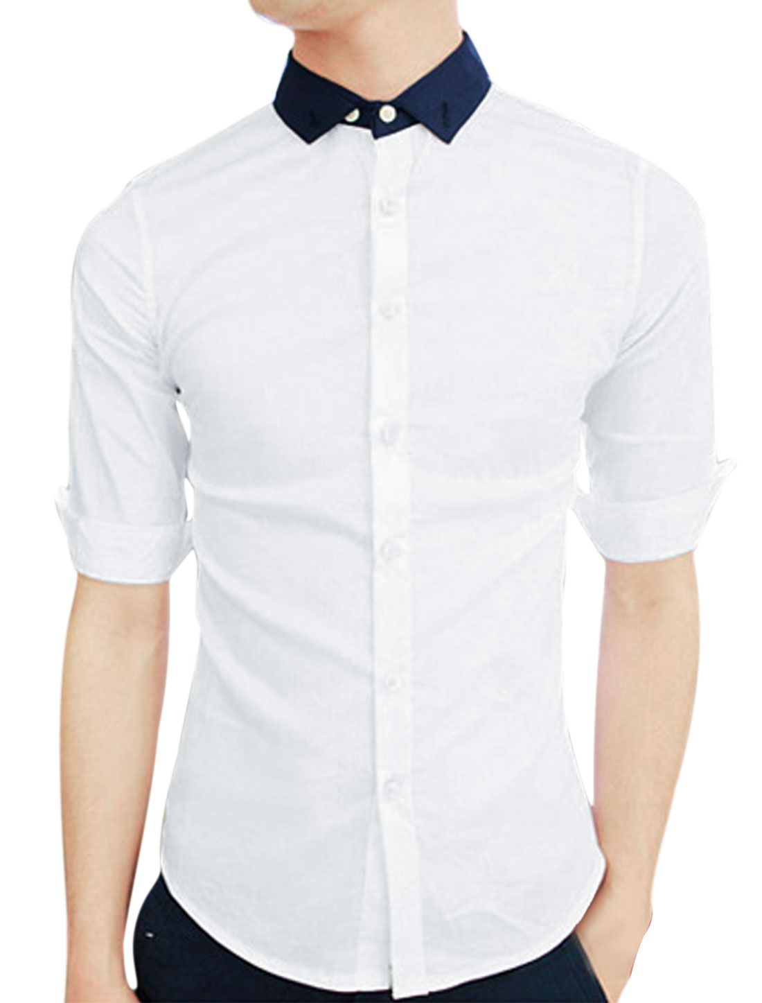 Man Convertible Collar Single Breasted Buttoned Cuffs Shirt White M