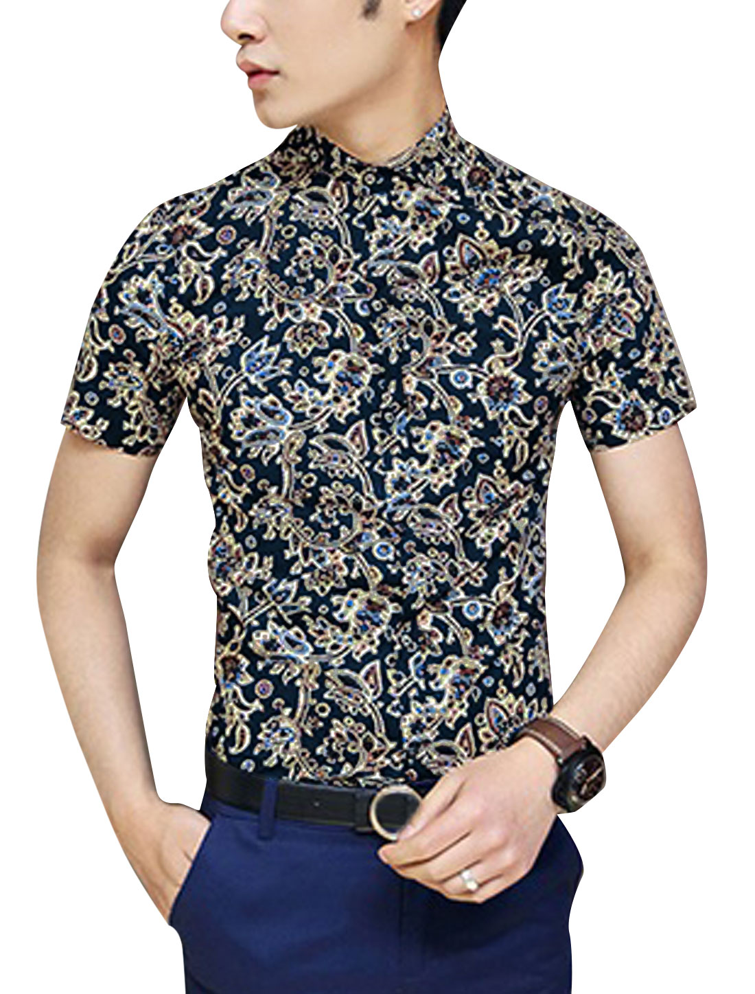 Men Short Sleeve Single Breasted Floral Prints Hawaii Style Shirt Multicolor S