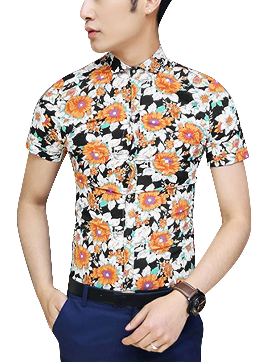 Men Point Collar Short Sleeve Button Up All Over Floral Shirt White Orange S