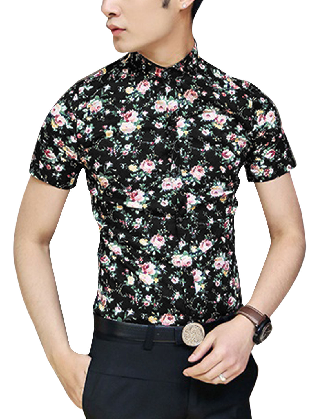 Men Point Collar Short Sleeve Button Down Floral Prints Summer Shirt Black S