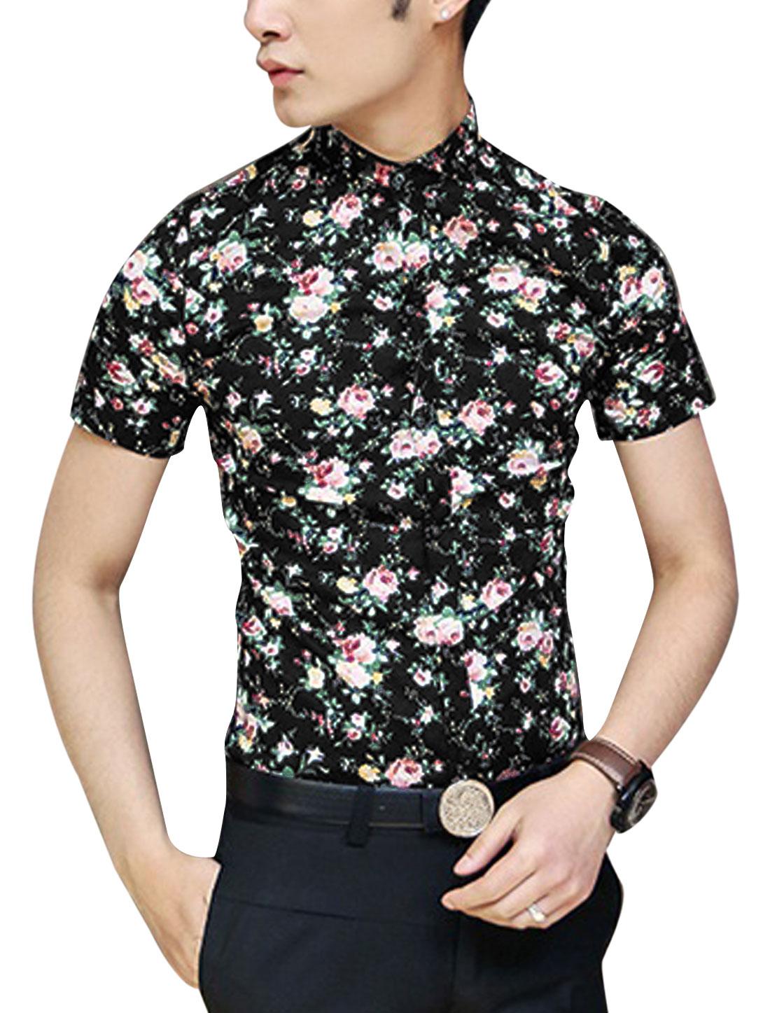Men Point Collar Short Sleeve Button Down Floral Prints Summer Shirt Black S