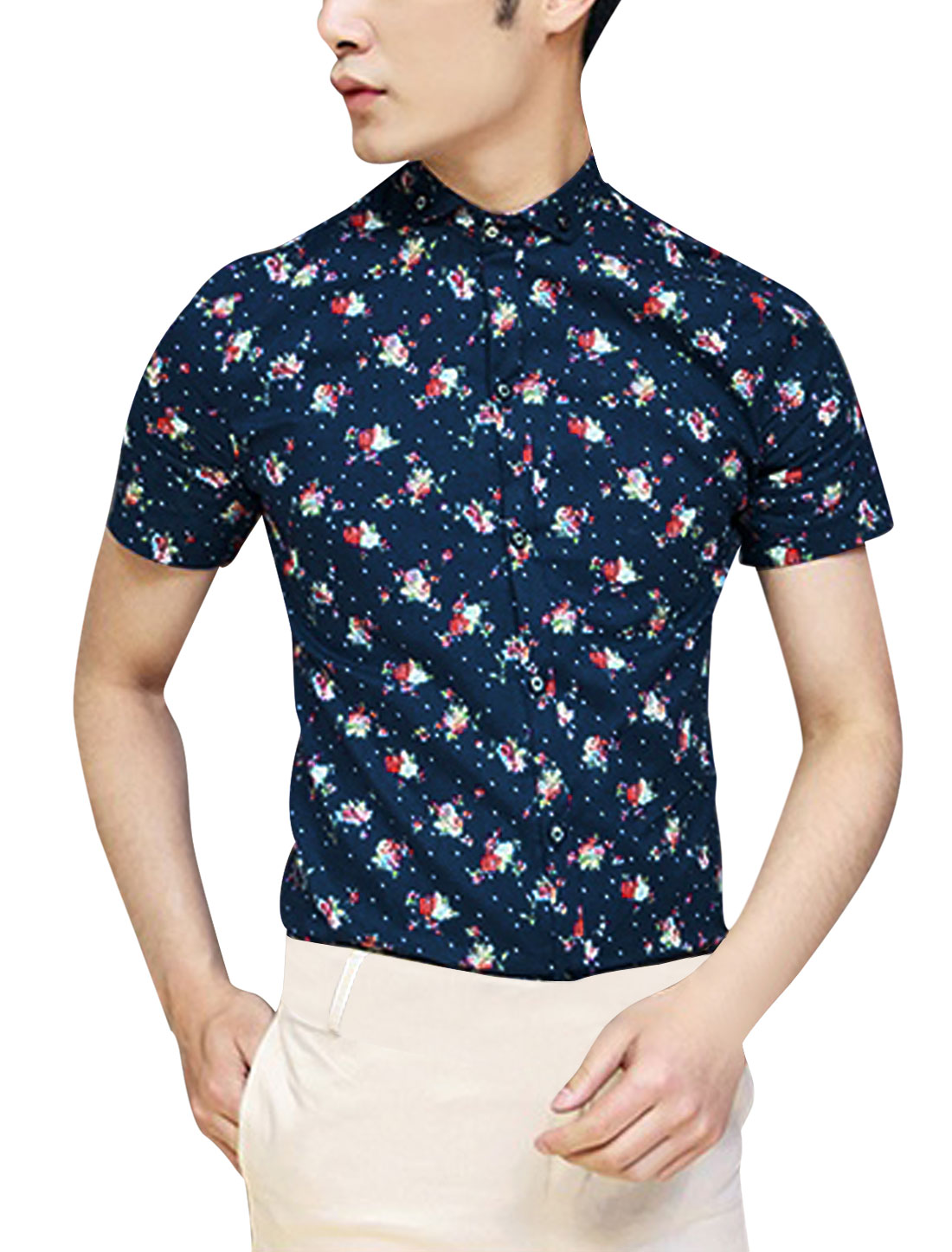 Men NEW Point Collar Short Sleeve Button Closure Floral Prints Shirt Navy Blue S