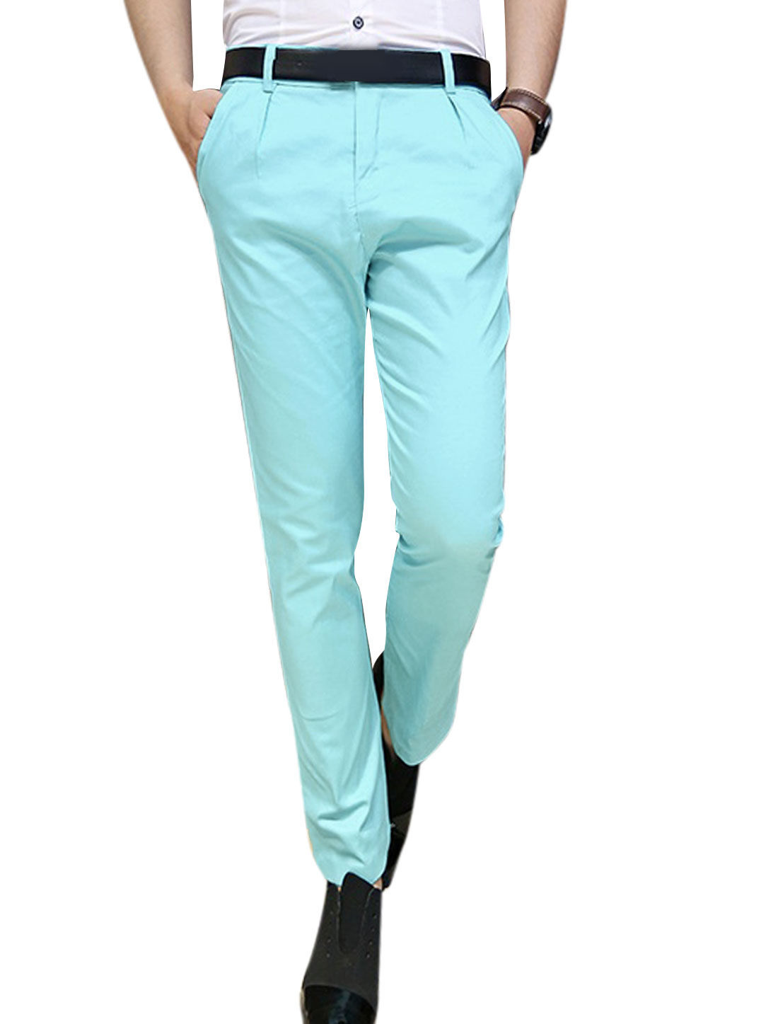 Man Hip Pockets Zip Fly Single Button Closure Cropped Pants Light Blue W30