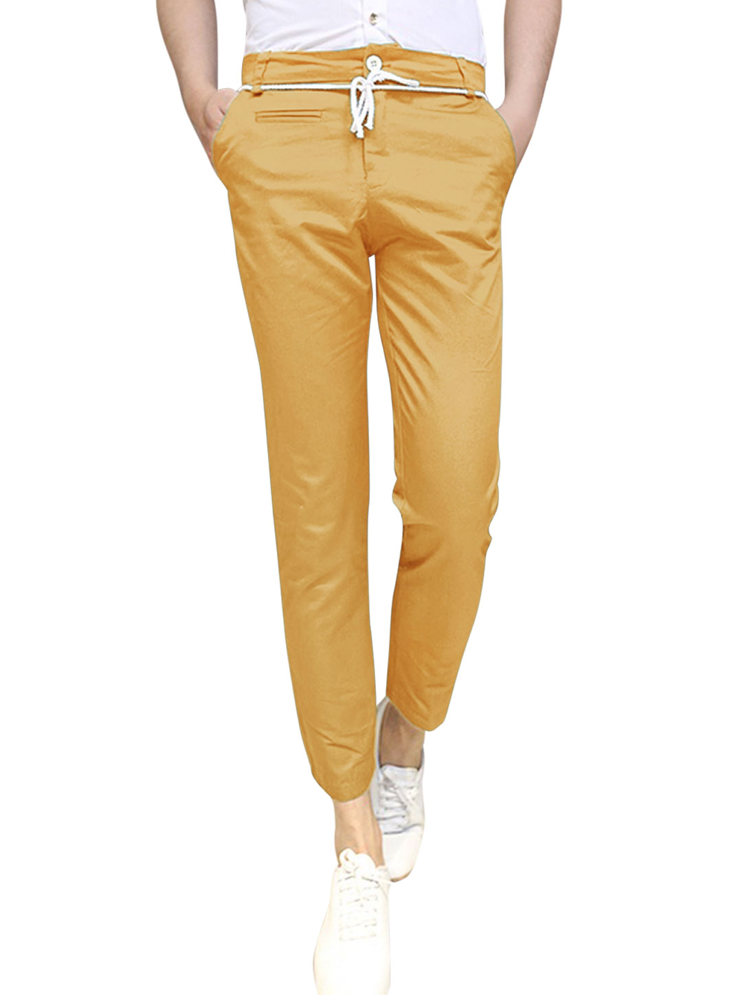 Man Zip Fly Drawstring Waist Slant Front Pockets Cropped Pants Ochre W30