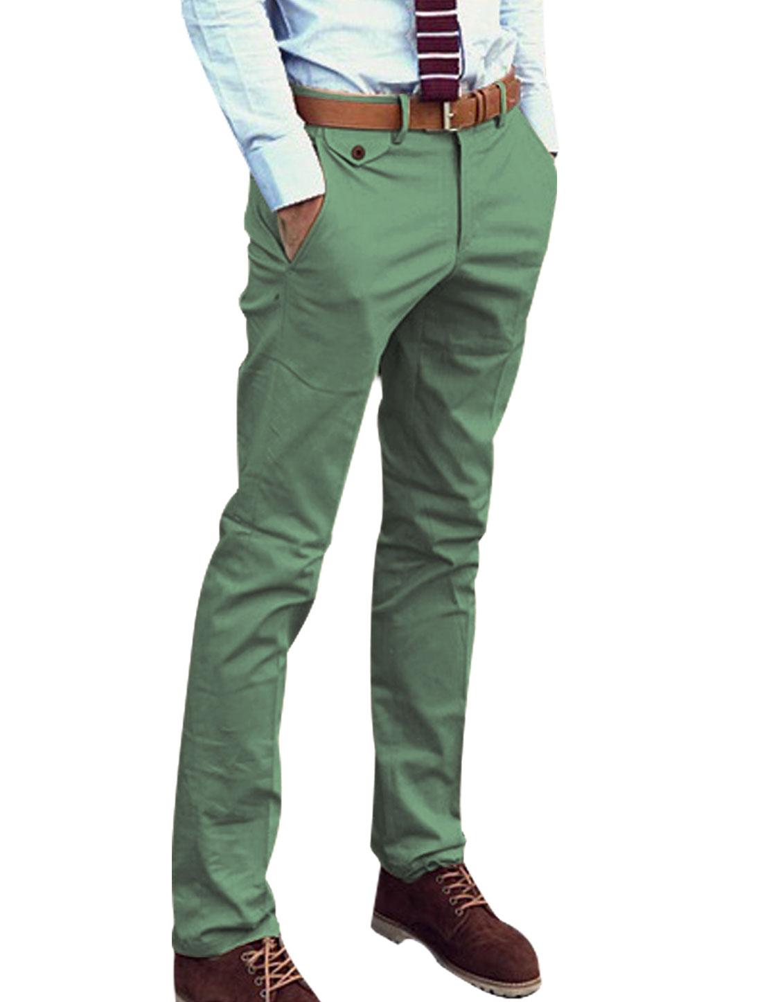 Man's Belt Loop Mid Rise Slant Front Pockets Casual Pants Khaki Green W30