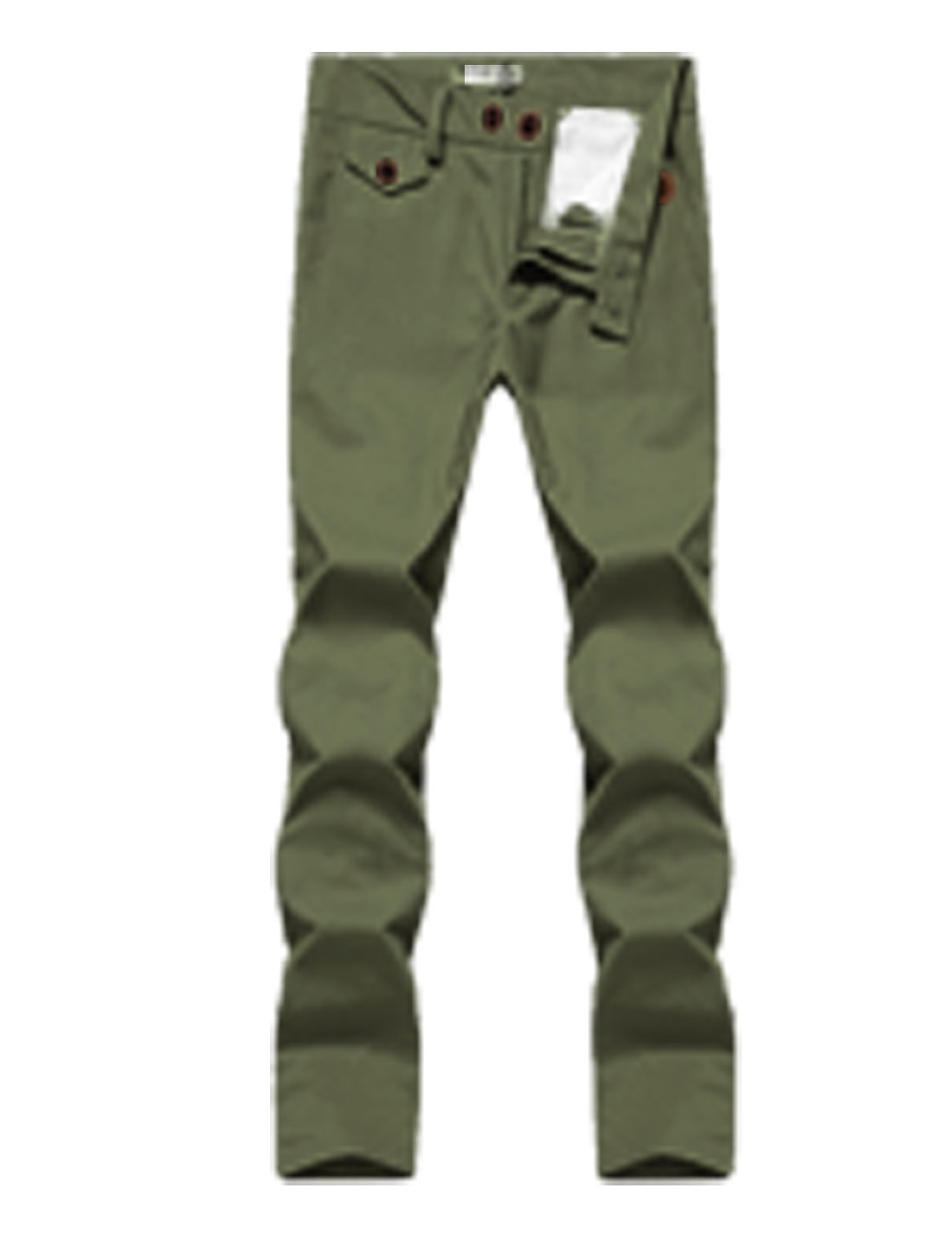 Man Mid Rise Zip Fly Double Button Closure Belt Loop Pants Army Green W30