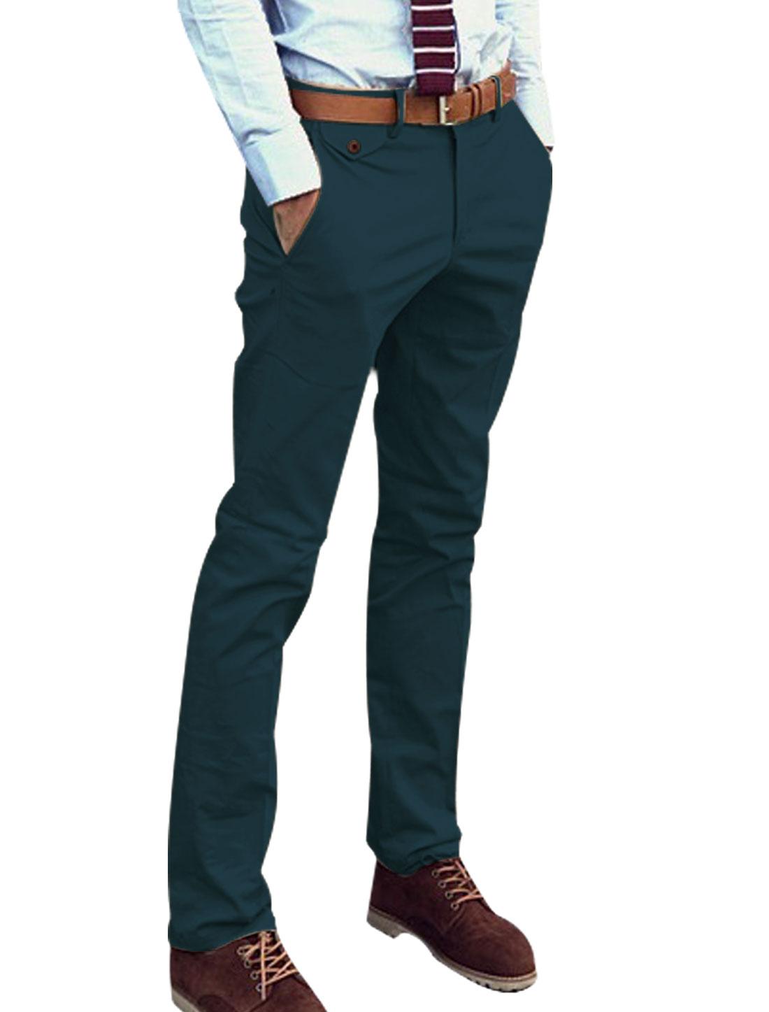Men's id Rise Double Button Closure Slant Front Pockets Pants Navy Blue W30