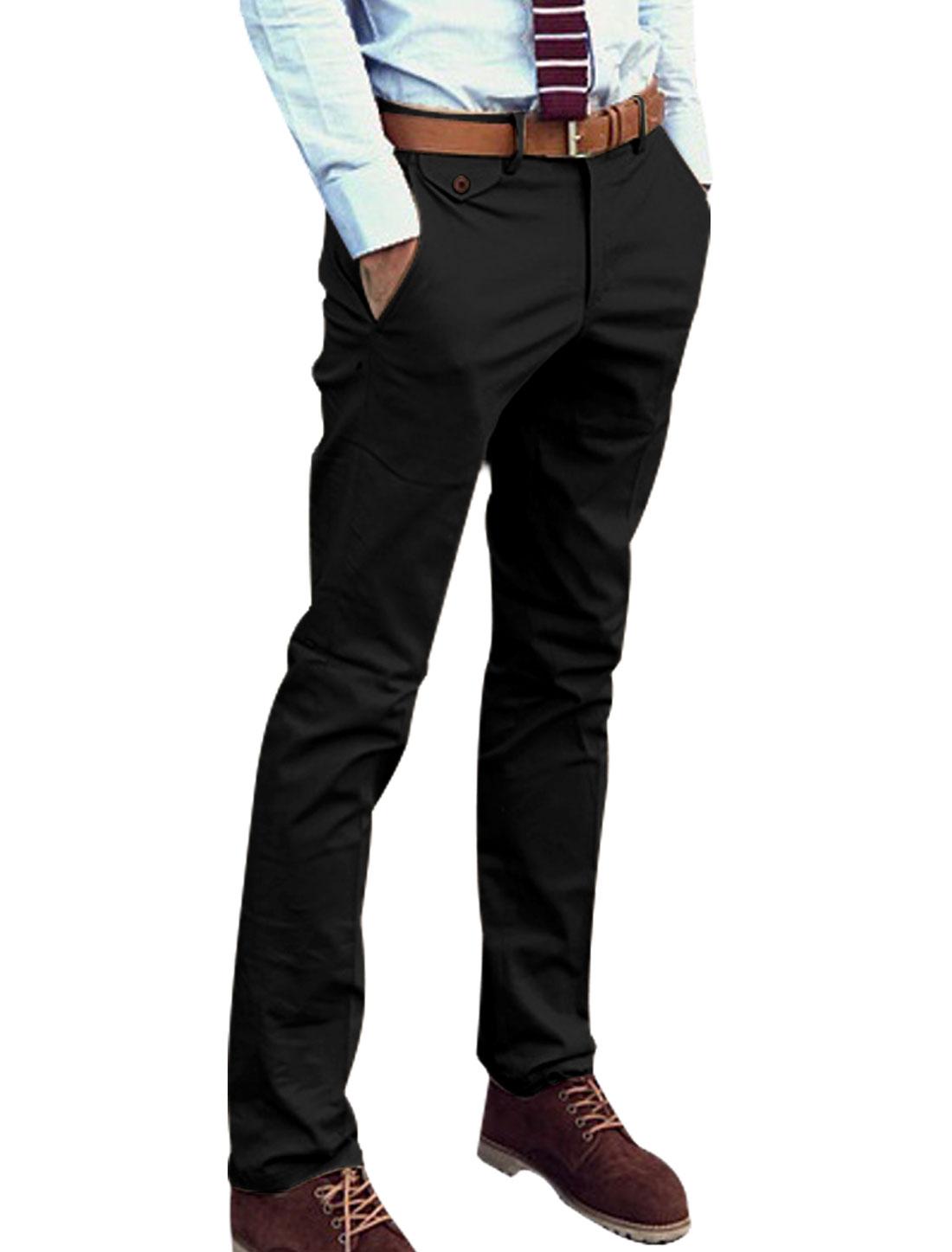 Man's Zip Fly Slant Front Pockets Belt Loop Casual Pants Black W30