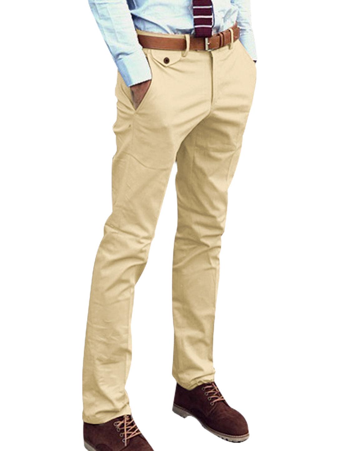 Man's Mid Rise Slant Front Pockets Belt Loop Casual Pants Khaki W30