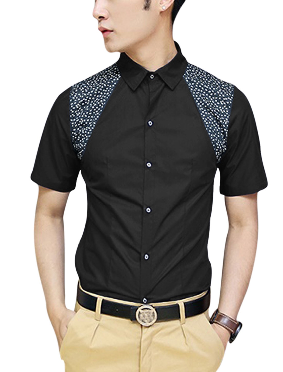 Man Floral Print Detail Point Collar Short Sleeve Casual Shirt Black M