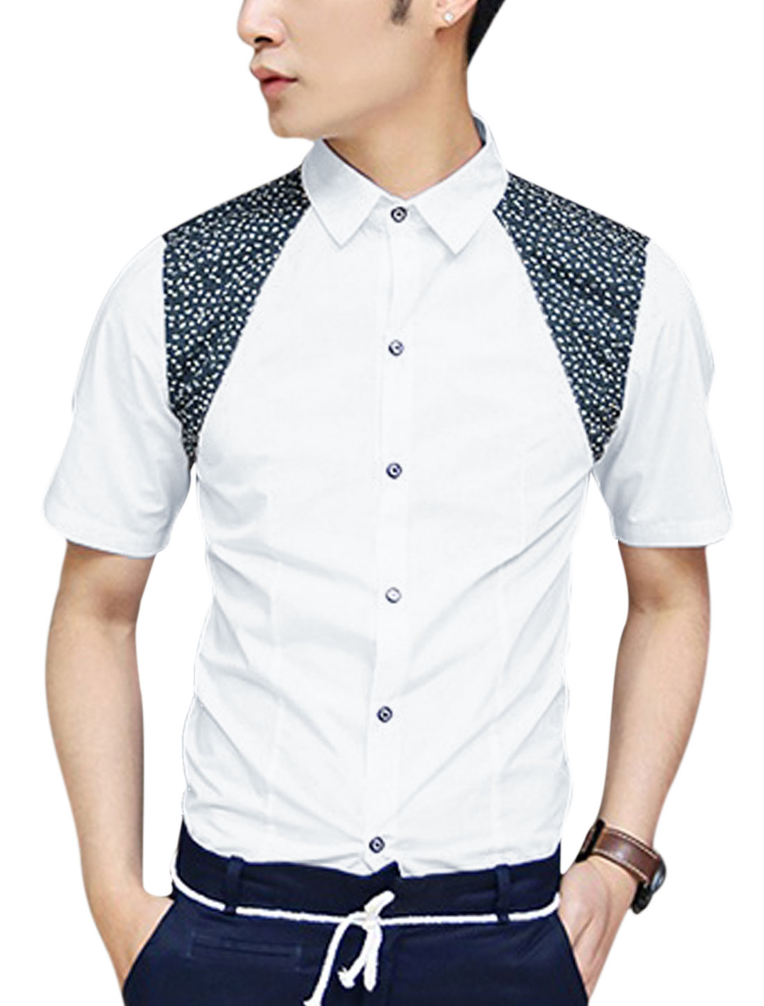 Man Button Down Short Sleeve Floral Print Detail Summer Fit Shirt White M