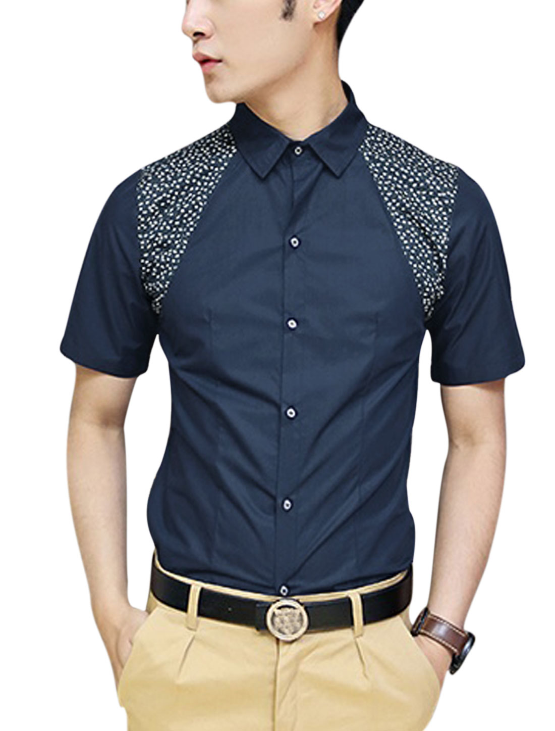 Men's Short Sleeve Round Hem Single Breasted Casual Shirt Navy Blue M