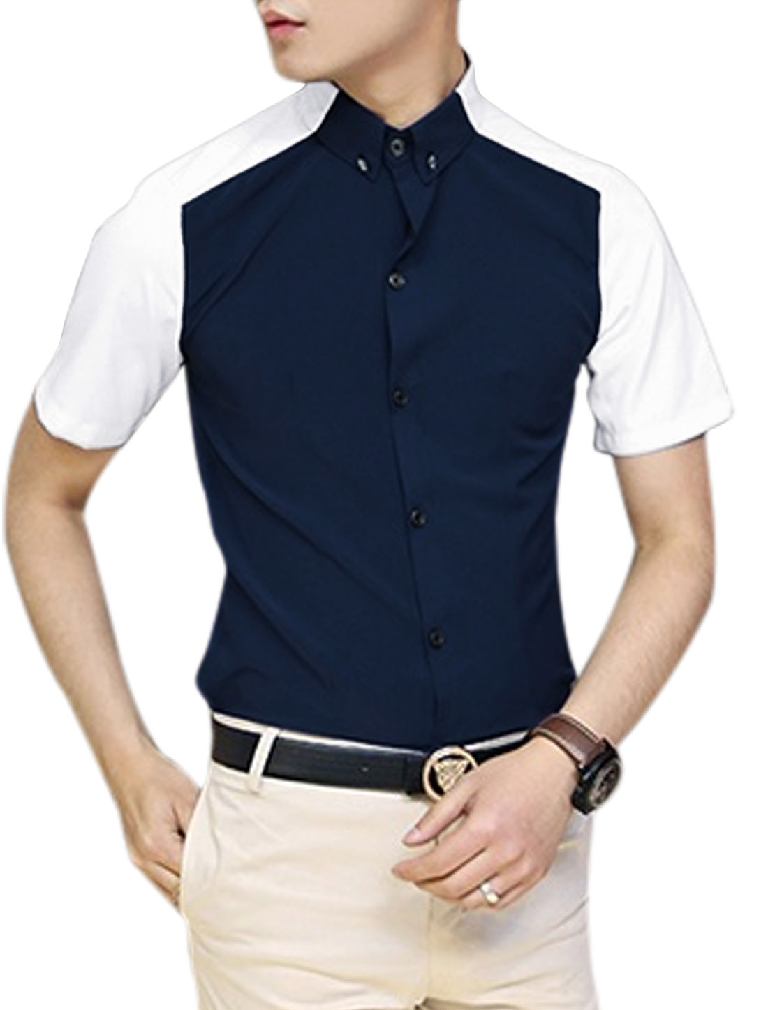Man Convertible Collar Button Down Colorblock Patchwork Shirt Dark Blue M