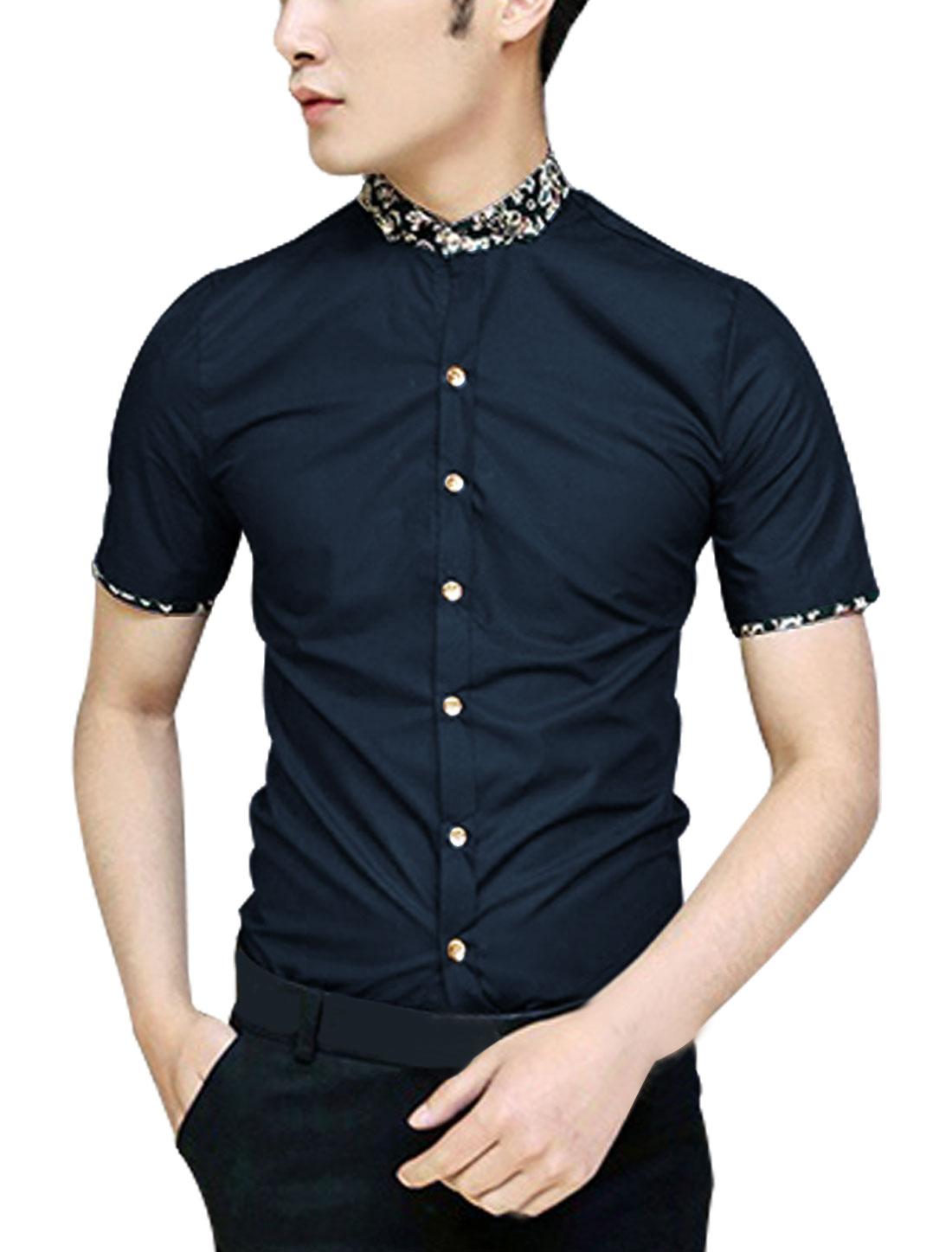 Men Point Collar Floral Prints Detail Button Up Shirt Dark Blue S