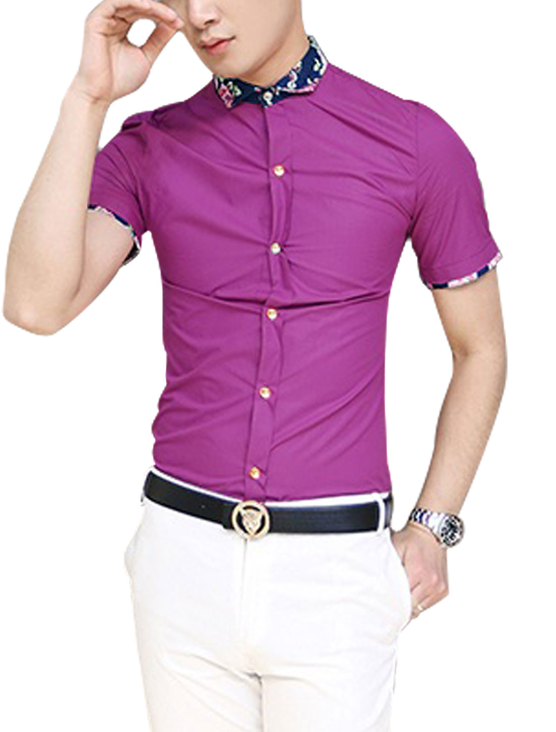 Men Short Sleeve Floral Prints Detail Button-Front Shirt Fuchsia S