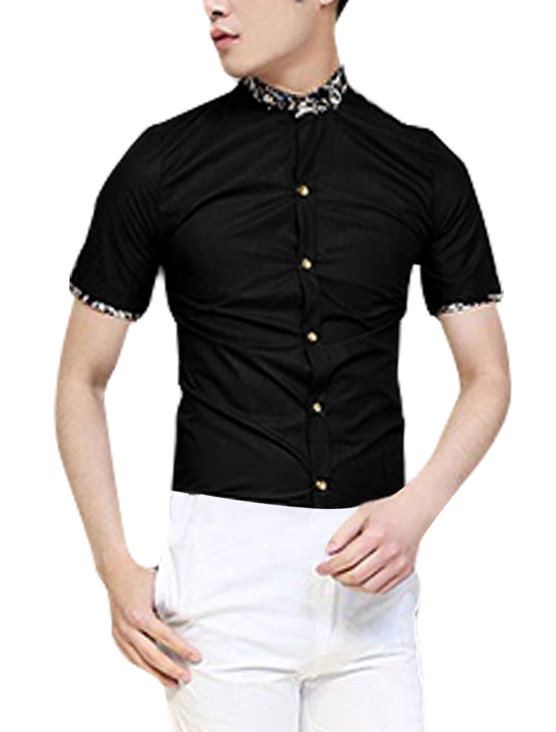 Men Point Collar Short Sleeve Button Up Shirt Black S
