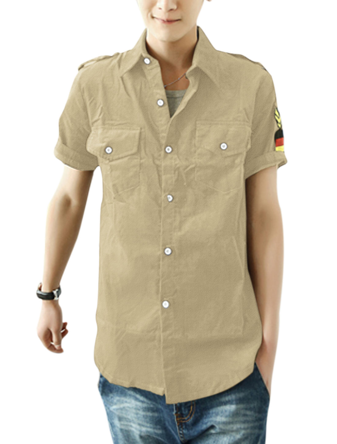 Men Point Collar Rank Military Army Applique Decor Shirt Khaki M