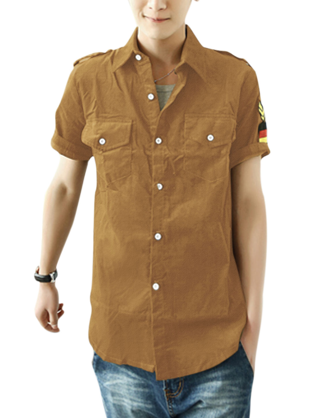 Men Point Collar Button Closure Epaulette Decor Shirt Camel M