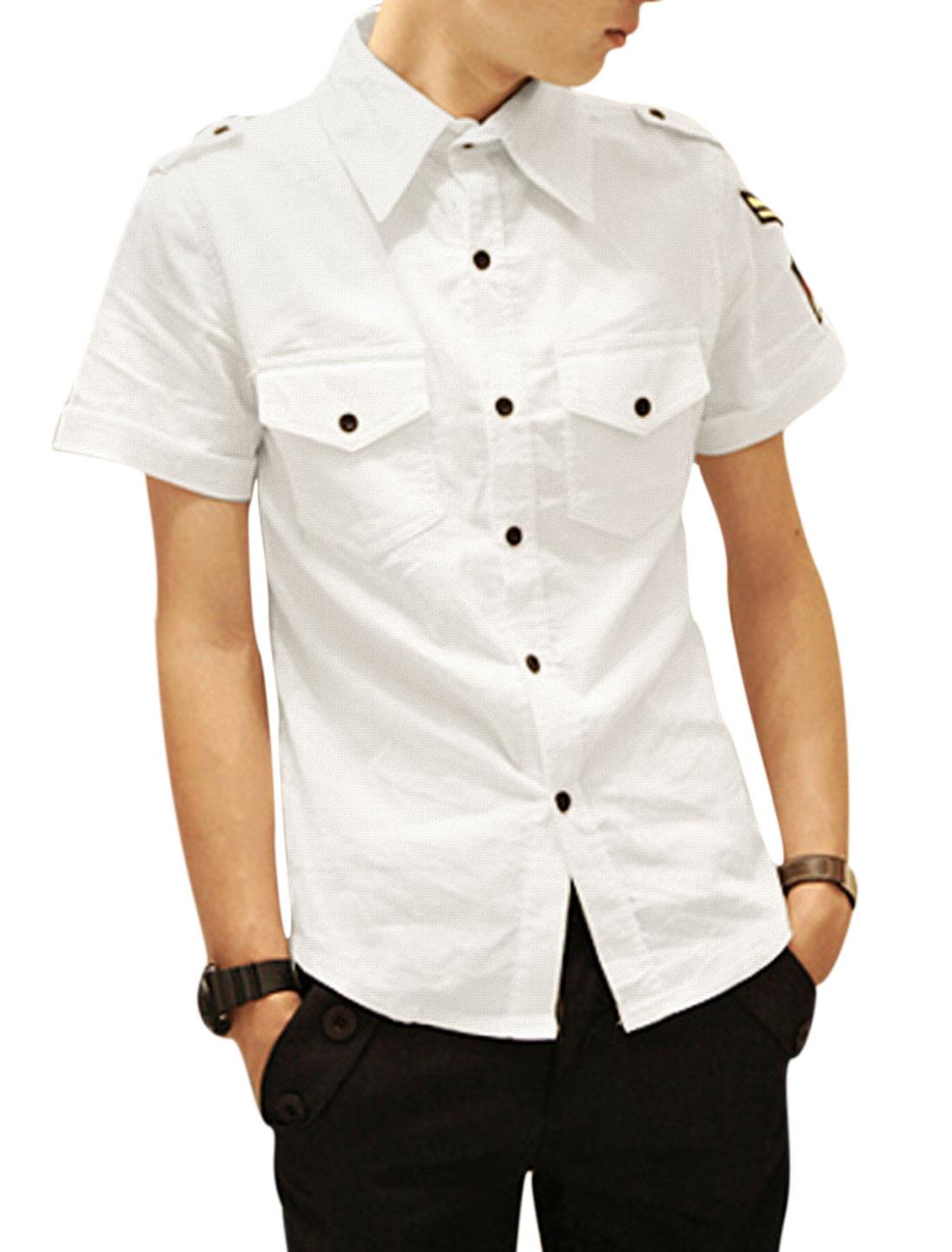 Men Casual Short Sleeve Button-Front Epaulette Decor Shirt White M
