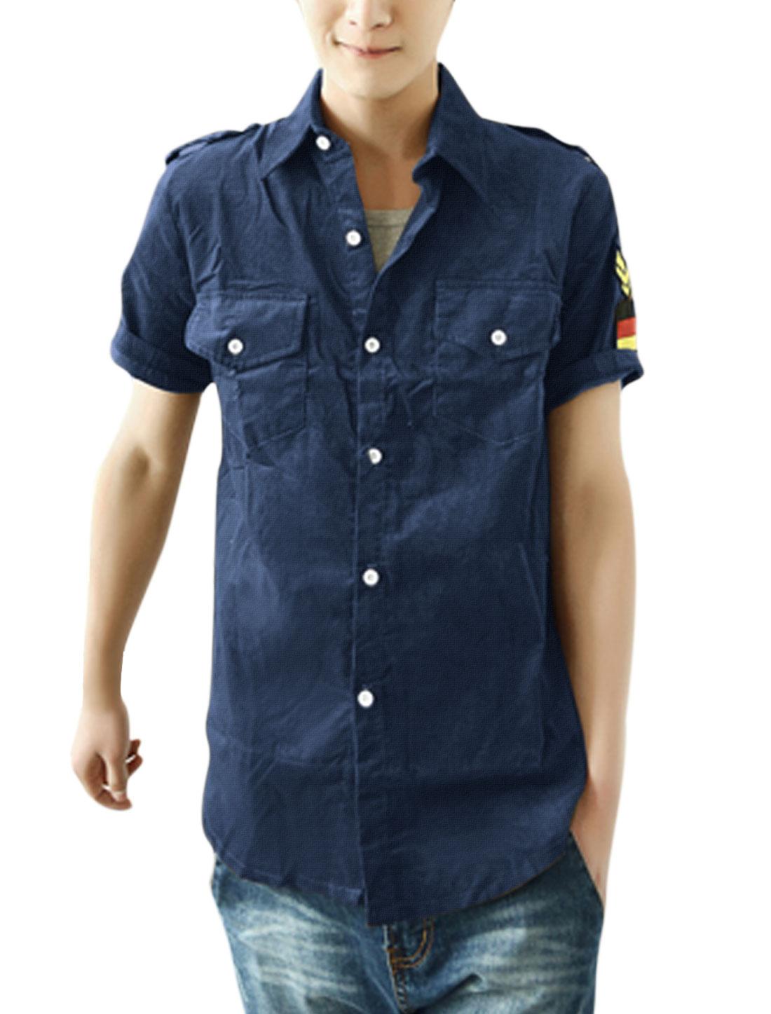 Men Stylish Short Sleeve Button-Front Epaulette Decor Shirt Navy Blue M