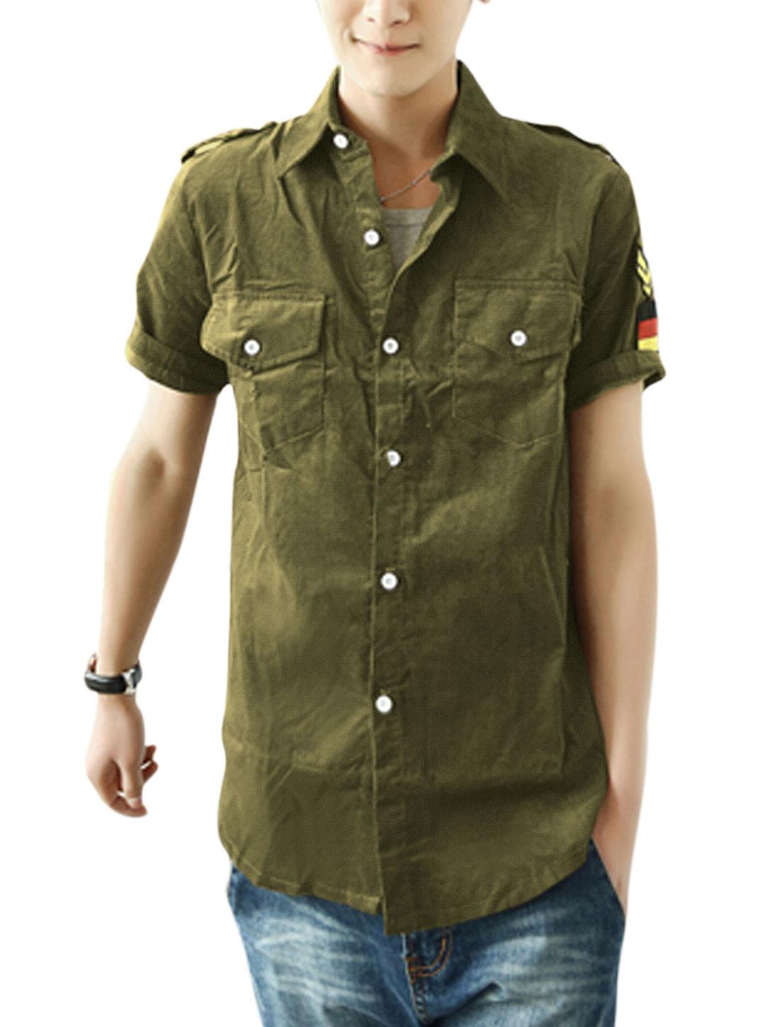 Men Point Collar Button-Front Epaulette Decor Shirt Dark Olive Green M
