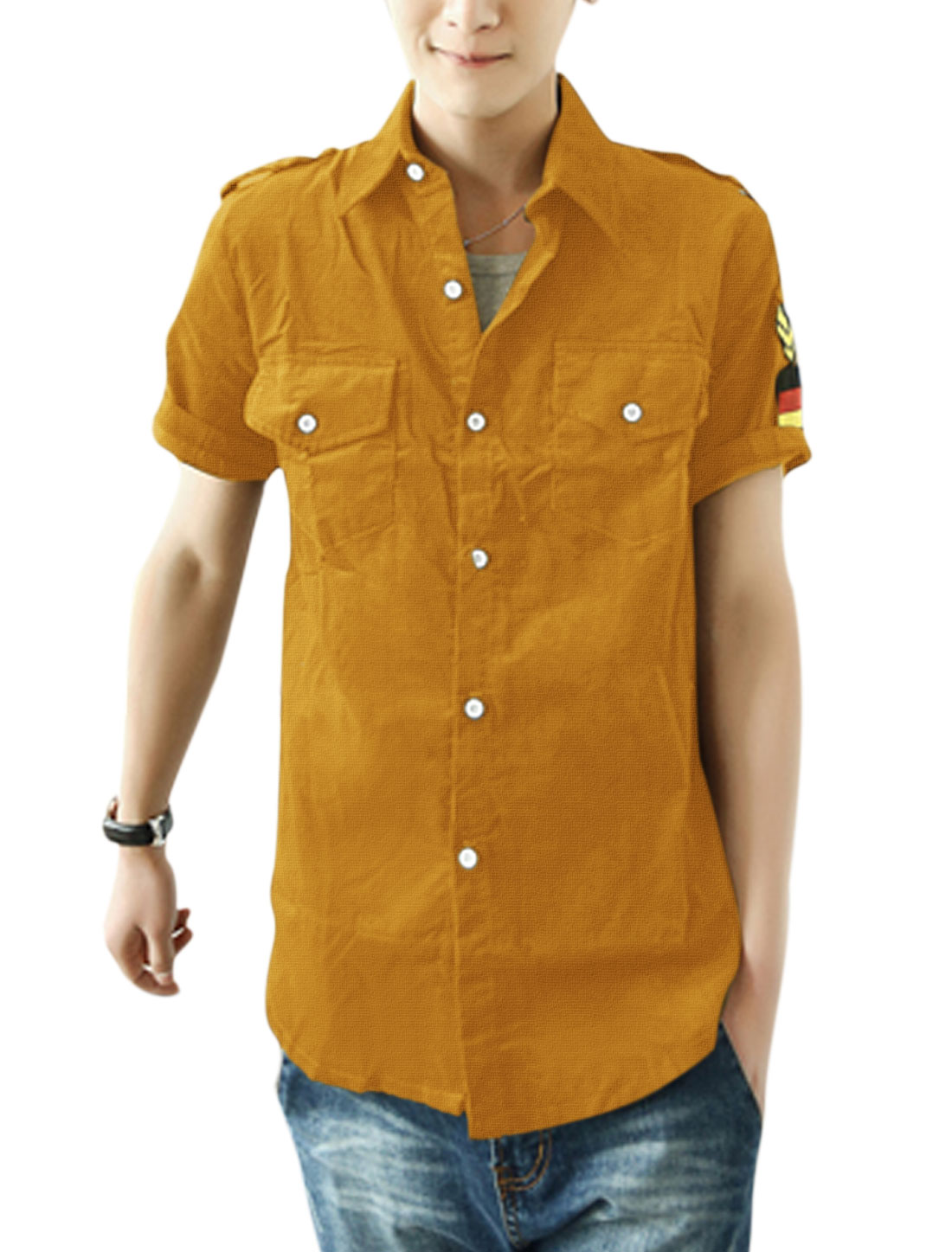Men Summer Short Sleeve Button-Front Epaulette Decor Shirt Ochre M