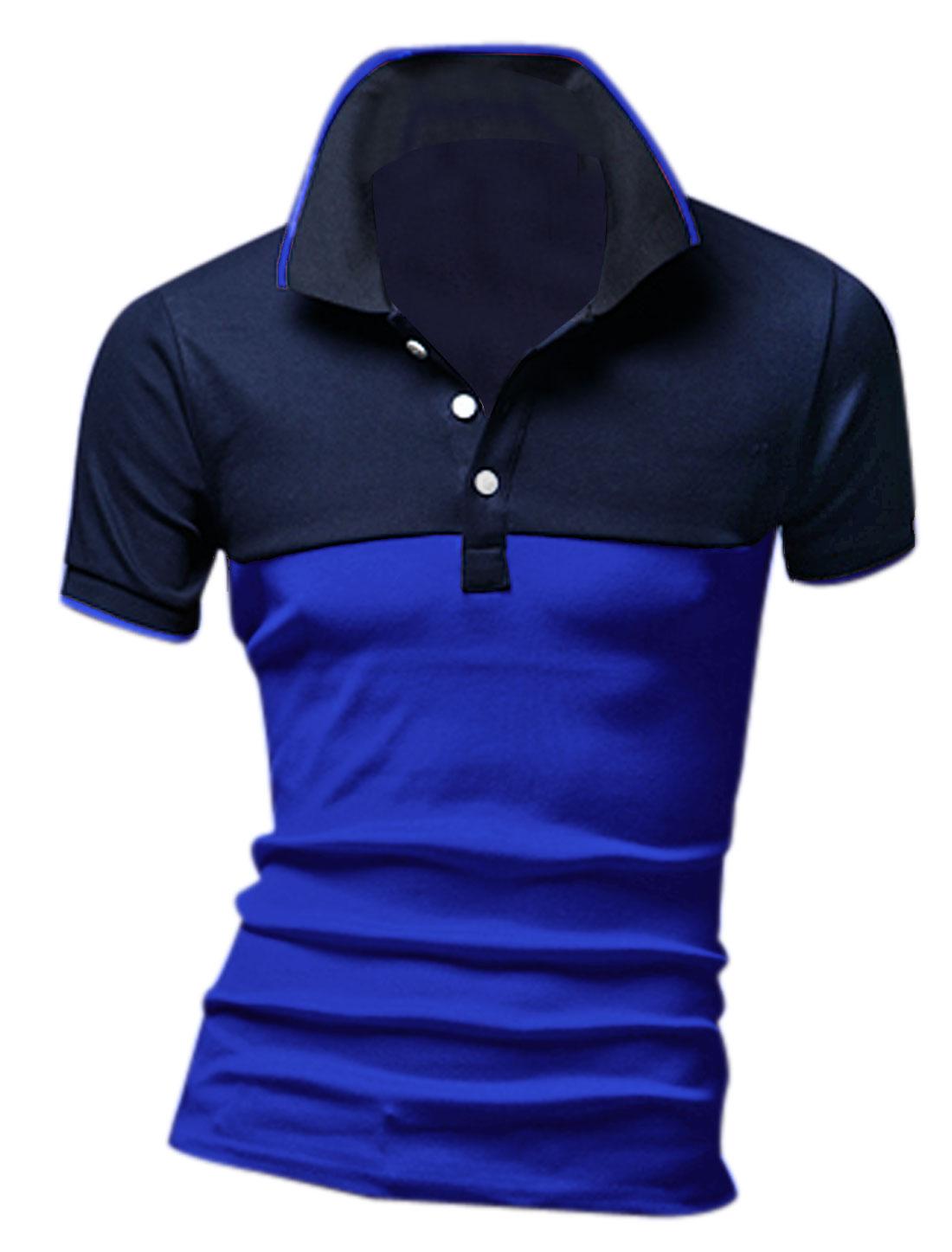 Man's Ribbed Collar Cuffs 3-Button Summer Fit Polo Shirt Dark Blue M
