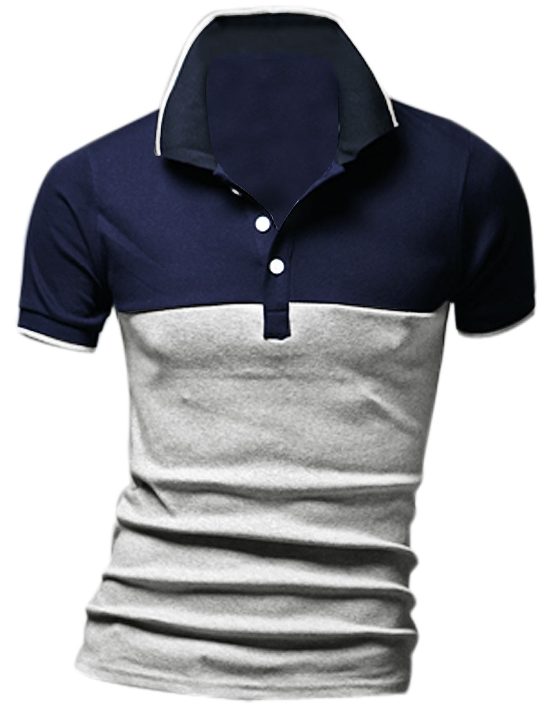 Man Point Collar Short Sleeve Ribbed Collar Cuffs Polo Shirt Light Gray M
