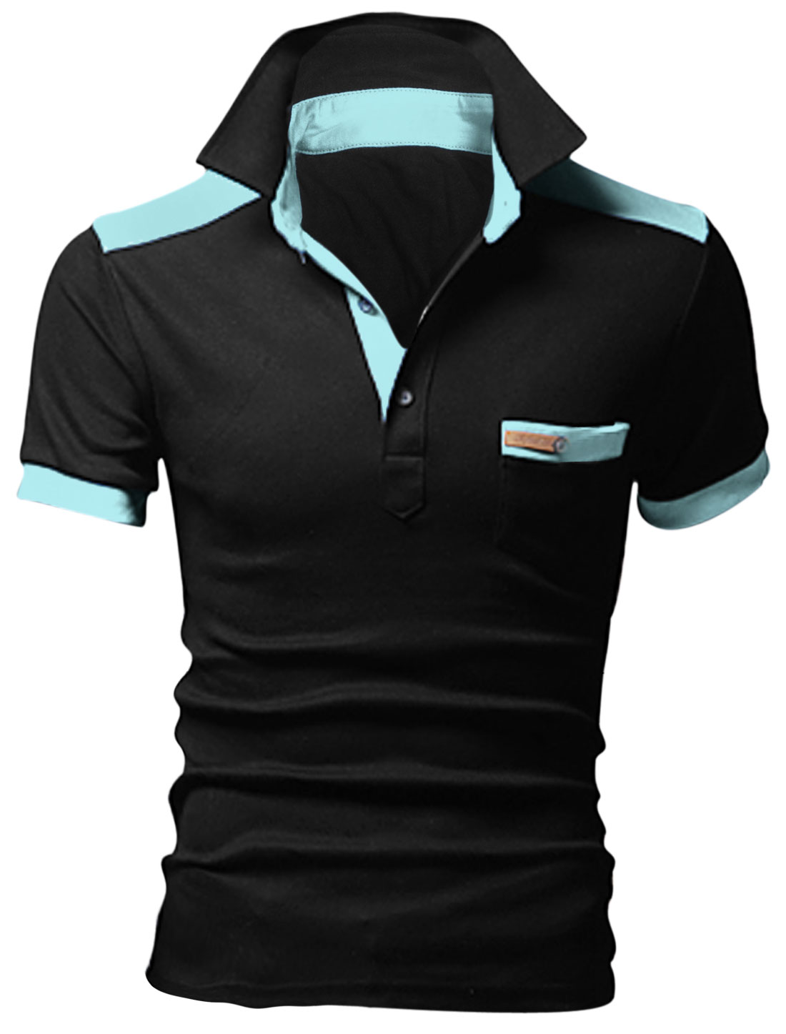 Man Panel Point Collar Short Sleeve Chest Pocket Polo Shirt Black M